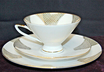 Winterling Roslau Bavaria Trio Set - Cup, Saucer, Plate - Gold & White [S6880]