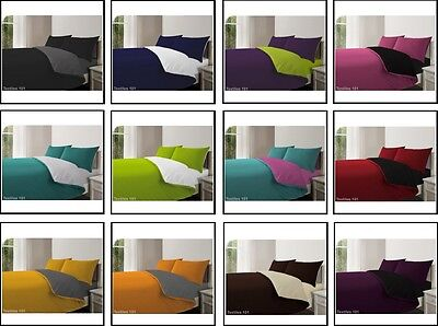 Reversible Duvet Cover With Pillow Cases And Fitted Bedding Sheet Set All Sizes