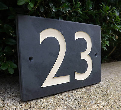 ENGRAVED SLATE HOUSE DOOR NUMBER PLAQUE/PLATE/NAME/SIGN - Modern Style Numbers