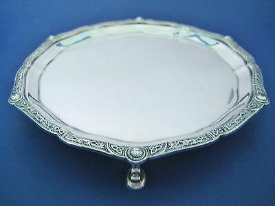Solid Sterling Silver Celtic Card Tray / Tri Foot Waiter ~ Celtic Knot & Dragons