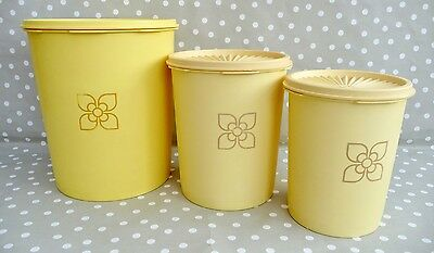 Set Of 3 Vintage Tupperware Yellow Stacking Servalier Storage Canisters
