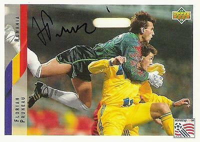 An Upper Deck World Cup USA 1994 card signed by Florian Pruneau of Rumania.