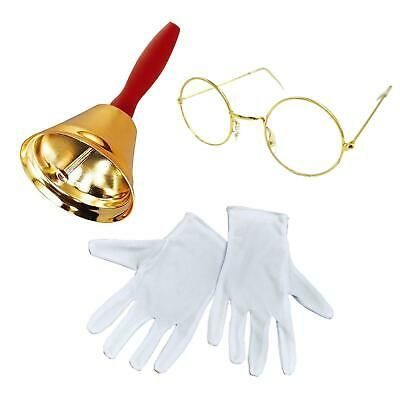 Professional Santa Claus Accessory Set Half Moon Glasses Gold Bell White Gloves
