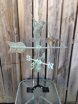 Copper Patina Golfer Weathervane With Roof Mount Golf Weather Vane
