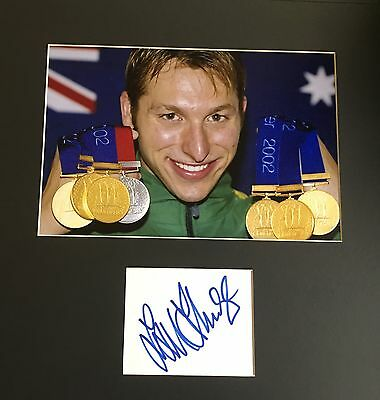 Ian Thorpe Signed Australian Swimming Legend Gold Medal Olympics Mounted Photo