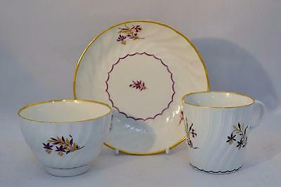 Antique Chamberlains Worcester Trio Tea Bowl Coffee Can and Saucer 18th Century