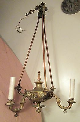 LARGE antique 1800's gilt bronze ornate gas electric chandelier ceiling fixture