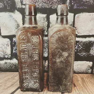 2 Dr Hostetters Stomach Bitters Amber Brown Glass Bottle Dirty Crusty Barn Find