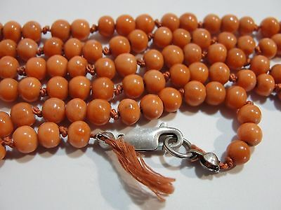 Coral Natural Antique Tibetan Victorian Undyed Prayer 114 Beads Necklace