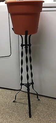 Vintage Victorian, Three Sided Nice Details Wrought,  Iron Plant Stand