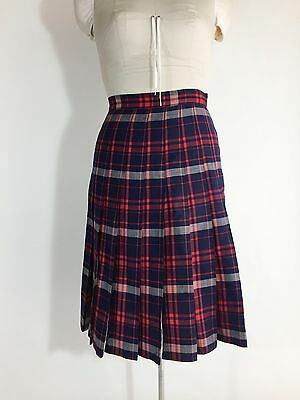Vintage Skirt Red White Blue Navy Plaid Pleated 100% Wool Swing Rockabilly