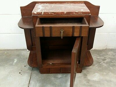 Vintage French wooden art deco style bedside cabinet/ small cupboard marble top