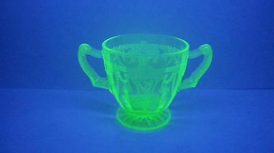ANCHOR HOCKING Green Depression Glass Cameo Pattern Handled Open Sugar Bowl