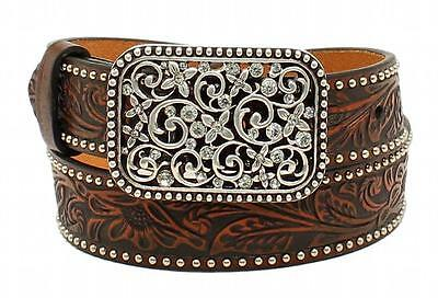 Ariat Western Girl Belt Kids Leather Embossed Floral Studded Brown A1303602