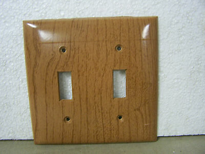 Vintage Wood Tone Double Switch Cover Plate Sierra Electric Made in USA