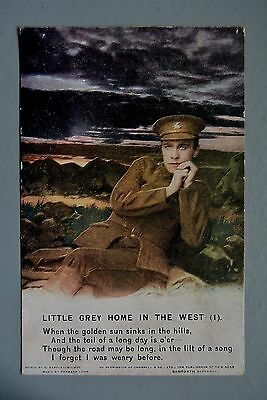 R&L Postcard: Bamforth Song Card 4871/1 Little Grey Home in the West WW1 Soldier