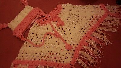handmade knitted hat and poncho age 3 new pink and white