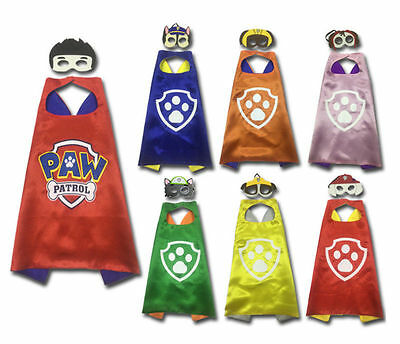 Free Paw Patrol Kids Cape & Mask Favor Costume For Birthday Party Dress Up Decor