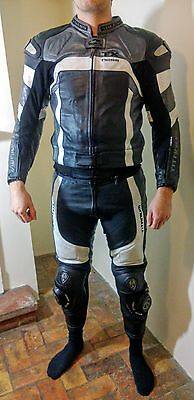 Arlen Ness Titanium Leather Grey Black White Leather 2 Piece Motorcycle Racing