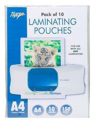 Pack of 10 A4 Laminating Pouches 150 Microns Hot Laminator Paper Home/Office