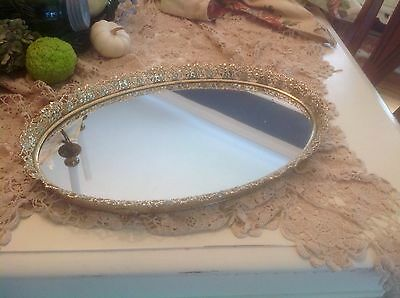 """Beautiful Vintage Footed Gold Filigree Oval Vanity Mirror Tray~17 X 11""""~Nice"""