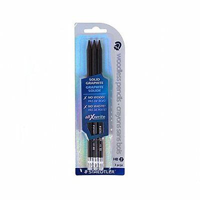 STAEDTLER 29230BK3LU  - Woodless Solid Graphite HB Pencils With Eraser Pack of 3