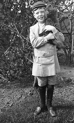 PHOTOGRAPHIC CELLULOID NEGATIVE BOY WITH FUNNY LITTLE DOG c1920's