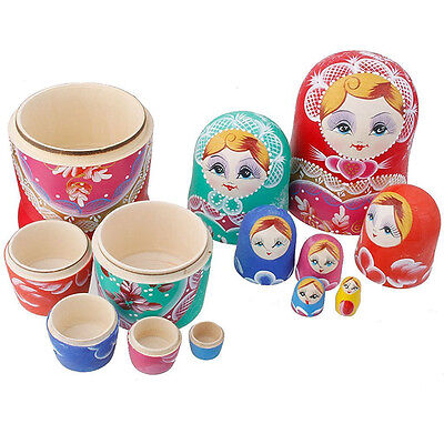 7 Traditional Russian Nesting Dolls Wooden Handmade Matryoshka Gifts Toy Decor
