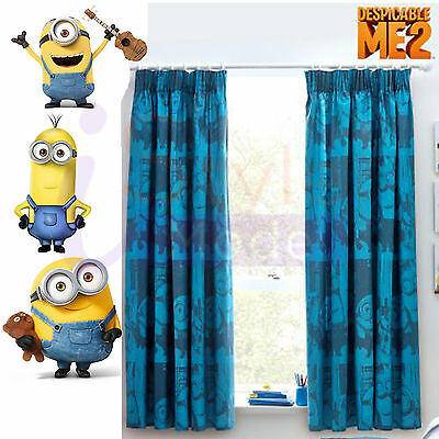 "Kids Disney Minions Printed Curtains Childrens Pencil Pleat 2 Sizes 54"" Drop"