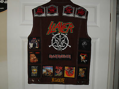 LEGENDS OF METAL! Tribute Vests-BURGUNDY--L....Slayer, AC/DC,Megadeth,Overkill
