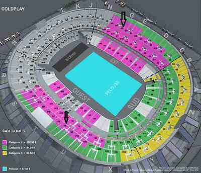 Tickets Coldplay Paris Stade De France Dimanche July 16Th 2017 Category 1