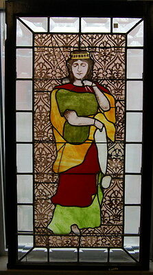 Antique 1920s Stained & Beveled Glass Window w/ Religious Figure, Original Glass