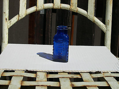 Cobalt Blue three sided Poison bottle