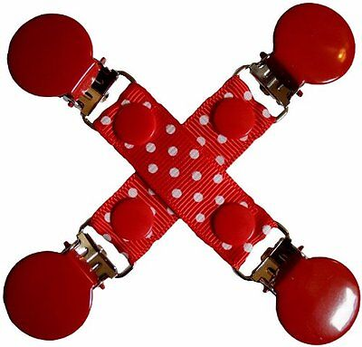 CuteToots Mitten clips/ Glove clips / hat clips for kids, adults: red polka
