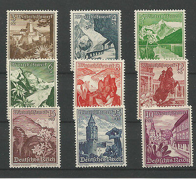 "GERMANY -1938 WINTERHILFSWERK ""ALPINE FLOWERS"" Mi 675-683"