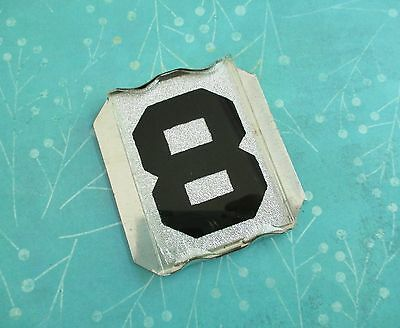 Vintage Beveled Aluminum and Glass Reflective House Number 8