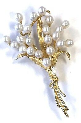 14K Yellow Gold Flower Stem Pearl Bouquet Fashion Brooch Pin Pendant P0461
