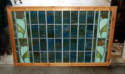 Antique 1890s Stained Glass Window w/ Floral Design, Architectural Salvage
