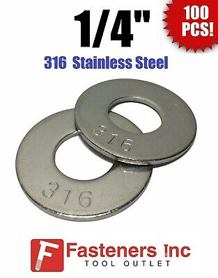 "(Qty 100) 1/4"" Grade 316 Stainless Steel Flat Washer GRADE 316"