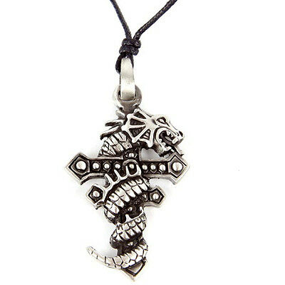 Dragon And Cross Pewter  Necklace