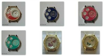 Rhinestone Large Round Watch Face Gold Plated Silver Plated