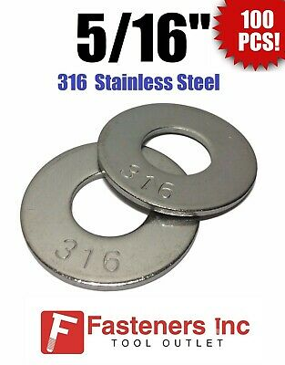 "(Qty 100) 5/16"" Grade 316 Stainless Steel Flat Washer GRADE 316"