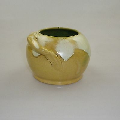 Early Remued Globe Shaped Bowl With A Round Mouth And Gnarled Branch Handle