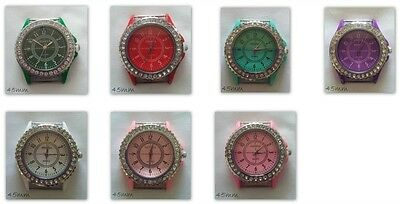 Rhinestone Dial Large Watch Face Silver Plated Coloured Enamel