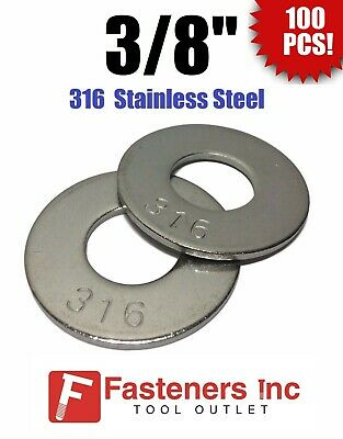 "(Qty 100) 3/8"" Grade 316 Stainless Steel Flat Washer GRADE 316"