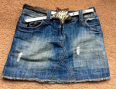 Girls Next Blue Denim Skirt With Sparkle Belt Age 6 116 Cm VGC