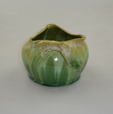 Early Remued Globe Shaped Bowl With A Tri Corner Mouth And Gnarled Branch Handle