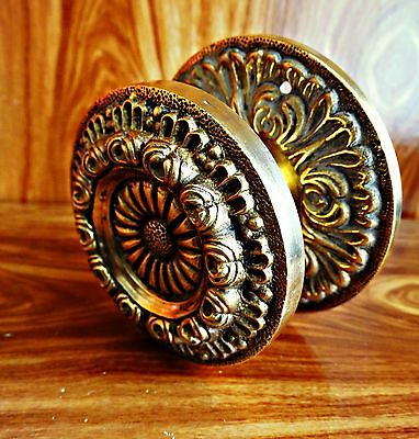 Antique Lovely Front Door Knob Handle Solid Brass Floral