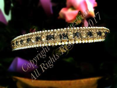 Bling Horse Crystal Stone & Pearl Dressage Browband Gold & Black.
