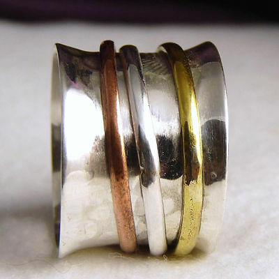 US 4 3/4 ~ 3-SPIN SPINNER SilverSari WORRY RING ~ 925 Sterling Silver 15mm wide